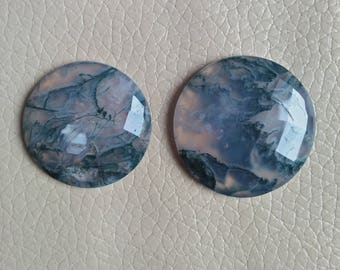 Beautiful Moss Agate Cabochon Excellent Quality Weight 75 Carat, One Side Cutting Moss Agate Gemstone, Size 32x32x8, 29x29x7 MM Approx.