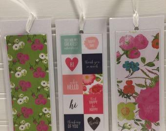 Hello Flowers Bookmark Set