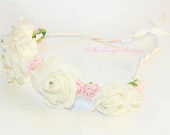WHITE FLOWER CROWN / bride / flowergirl / flowercrown / flower child / boho flower crown / flower crown /