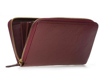 Handmade leather women's wallet, fabulously designed full grain leather, multi card slots & compartments Valentine's day gift Burgundy Color