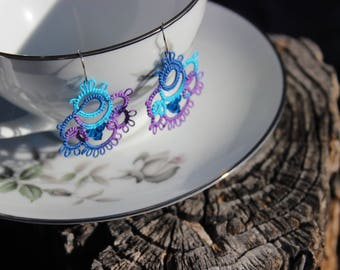 Cobalt Blue Tatted Earrings with Swarovski Crystals