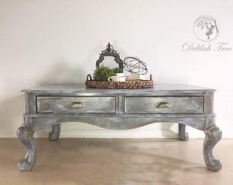 Large Gray Coffee Table 2 Drawer Storage Restoration Hardware Painted Finish Bulky Metallic Living Room Industrial