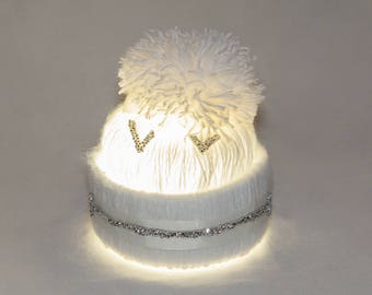 Crocheted Luminaire White  Cap Lamp  Knit Pom Pom Designer Lamp Night Light For Girls Wedding Gift Nightstand Lamp Statement Gift For Wife