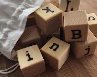 Wood Alphabet Blocks / Wood Blocks / Alphabet Blocks / Natural Wood Blocks / ABC Blocks