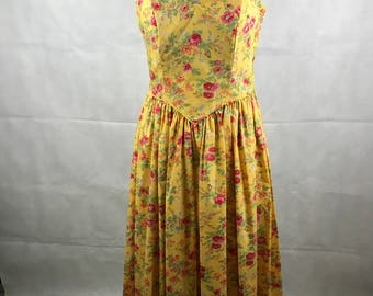 Vintage Yellow Mid Century Calf Length 1970's 80's Red Floral Dress