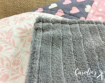 Baby Girl Receiving Blanket Pink, Gray and Ivory