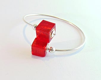 Silver bracelet and cubes in Murano glass-red