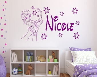 Personalised Frozen ELSA Vinyl Wall Art/Window Sticker - 16 colour options & 3 sizes to choose from - (fz002)