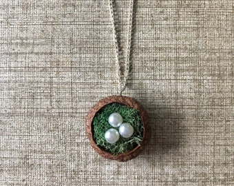 Free US shipping--Acorn bird's nest necklace