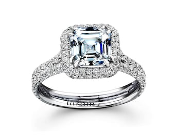 14K Cushion Cut  cubic zirconia  Halo Engegement  Ring With Side  Diamonds