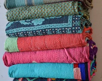 5 PC LOT Vintage Handmade Kantha Quilt  Reversible Cotton Indian Blanket Throw Bedding