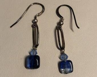 blue beaded dangling earrings