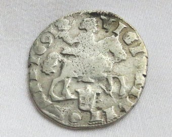 Antique 1691 solid silver Dutch Rider Rijderschelling coin. Signed Overijssel Zwolle with a rose. Ducaton provincial lion daalder