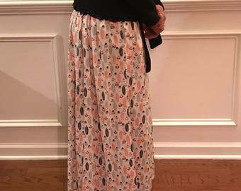 Maxi Skirt-blue and orange detail