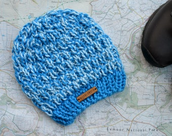 Knitted Slouchy Beanie Toddler Child Rustic Beanie Slouchy Hat Soft Premium Acrylic Cobalt Blue Soft Blue Size Mini Moorlander Rambler