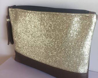Clutch faux gold and Brown