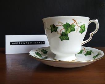 Vintage ivy pattern bone china teacup and saucer set