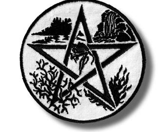 Pentagram 5 nature elements - embroidered patch, 8x8 cm