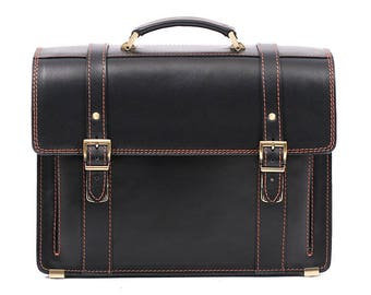 Black Leather Classic Briefcase Leather Laptop Bag Leather Business Bag Crossbody Bag Leather Messenger Bag Real Leather Bag