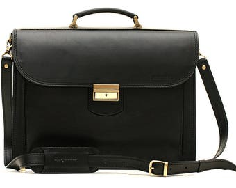 Black Classic Style Leather Briefcase Leather Laptop Bag Business Bag Leather Messenger Bag A4 Leather Briefcase