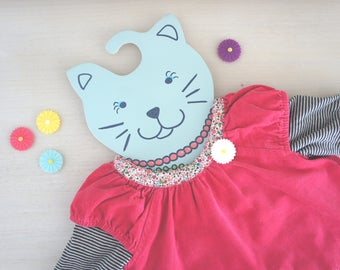 Hanger wood cat created mint nursery decor girl room baby decor cat made and painted by hand, made in france, made, kid