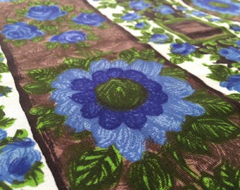 Vintage 50s Rustic Fabric 50 x 90 cm: Flower Brown