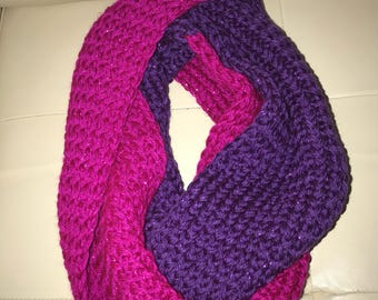 Infinity Scarf in Pink and Purple with Metallic Highlights