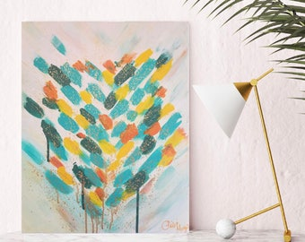 "Fearless acrylic painting on 20x16"" stretched canvas, abstract art, teal and orange art, wall decor, home decor, modern art, affordable art"