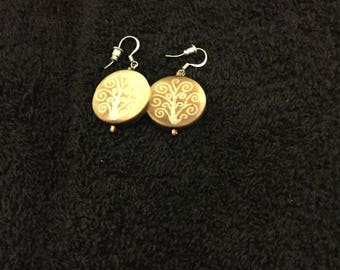 Handcarved wooden earrings