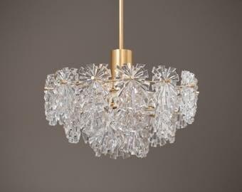 Kinkeldey Chandelier 60s 70s sunburst brass and crystal glass chandelier 60s