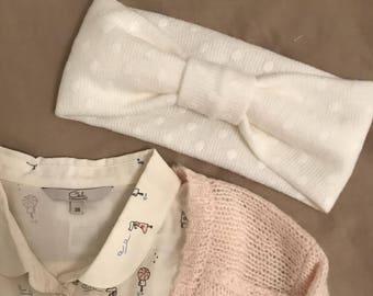 Woolen polka dot headband