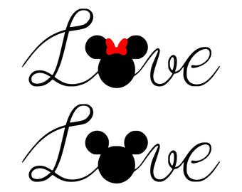Love Mickey Minnie SVG, Love  MIckey Minnie Cut Files - SVG, Studio, Studio3 - Silhoutte, Cricut and More - BD167