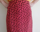 Woman POLKA DOT SKIRT Vintage 80 'Donna Enrica' Skirt Pencil Skirt Electric Crimson Silk Skirt sz. DE43