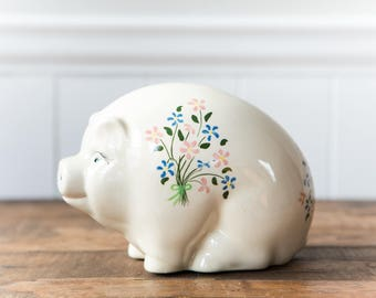 Vintage Small White Ceramic Piggy Bank // Baby Girl Piggy Bank with Flowers // Baby Gift