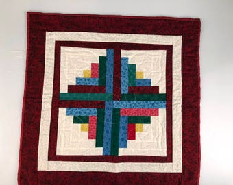 Log Cabin Table Topper Quilt