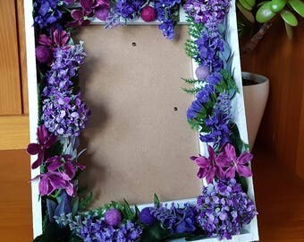 Valentine gift / home decor / gift -- handmade white floral frame -- Boho -- Romantic -- Rustic --Botanical -- bedroom