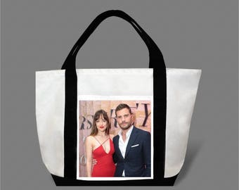 Dakota Johnson Jamie Dornan Canvas Tote Bag #0009