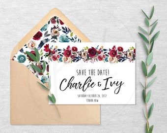 Boho Merlot Floral - Save The Date