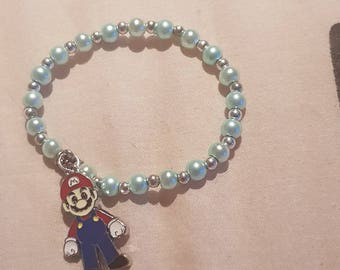 New kids 6mm Pearls Beads stretch bracelet with Mario