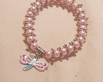 New kids 6mm Pearls Beads stretch bracelet with  Dragonfly