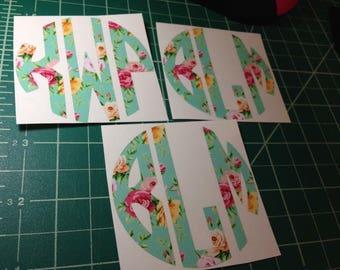 Floral monogram decals