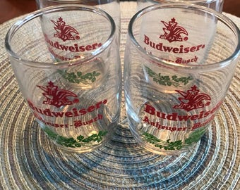 Set of 4 Vintage Anheuser Busch Budweiser barrell shot glasses