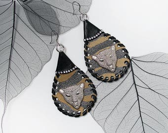 PANTHER Statement Lambskin Leather Ethnic Earrings For Special Occasion Party