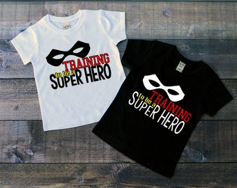 Children's Tee Shirt, Training to be a Super Hero T-Shirt, Black or White Tee, Infants, Toddler, Youth, Boy, Baby Boy Superhero Shirt