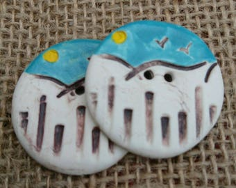 Set of two Handmade Ceramic Seaside Themed Buttons/Craft Buttons/Bespoke Buttons/Crochet/Knitting/Sewing/Fashion/Haberdashery.