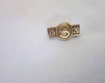 Antique S 1920 Gold Filled Bar Pinback