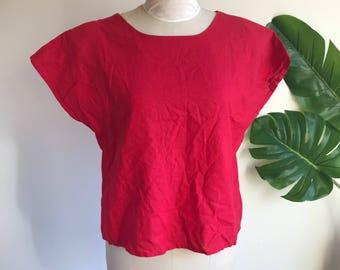 Red Boxy Linen Plus Size Blouse Size 14