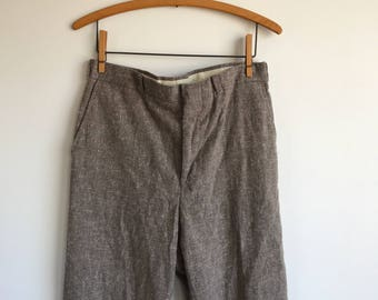 Vintage Brown Wool Trousers, 32' Waist, Brown Wool Pants