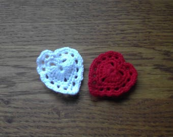 Handmade Crocheted Red/White Heart Brooch by Emma Frances Boutique