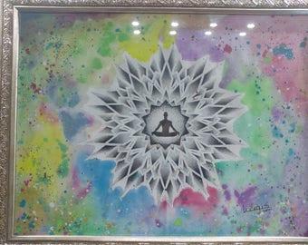 Dotwork / watercolor mandala design with yoga pose #2
